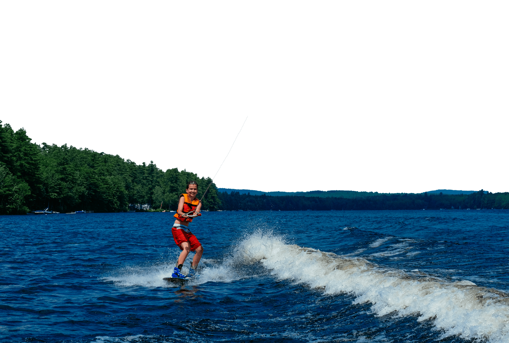 camper waterskiing