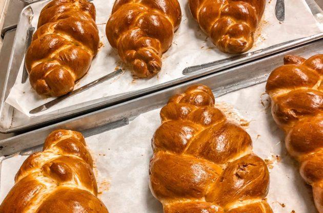 freshly baked challah bread