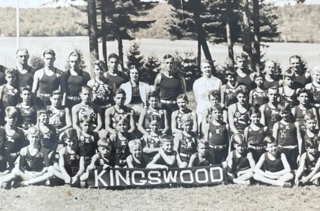 Old black and white photo of a large group of kingswood boys