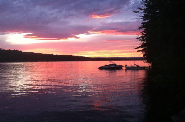 pink maine sunset on a lake