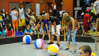campers at a special event with beach balls