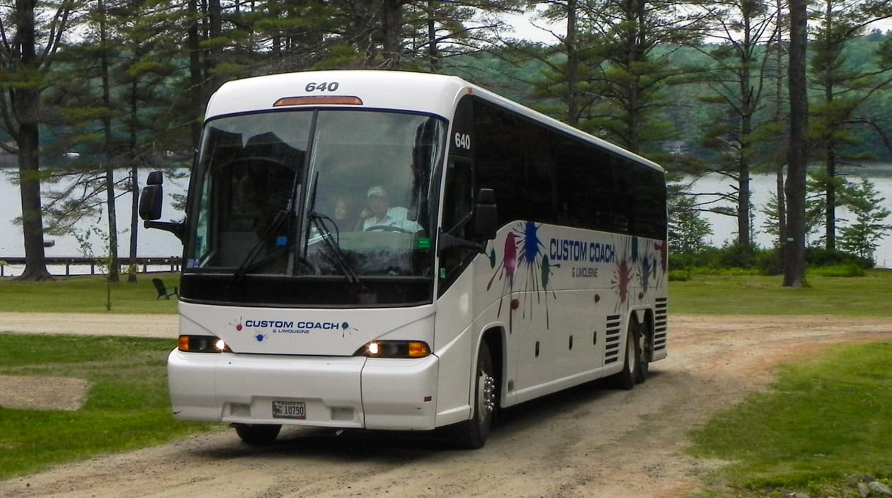 bus arriving at camp