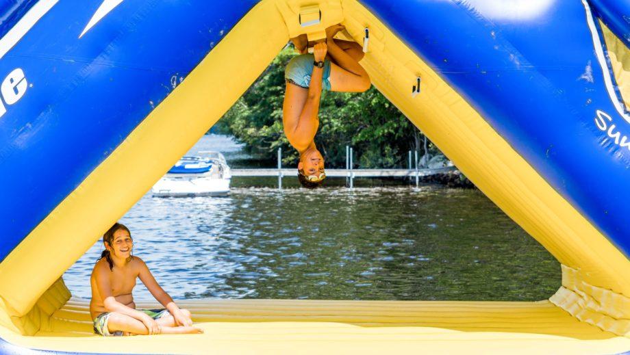 camper upside on inflatable