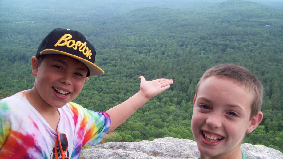 two boys on a hike in the white mountains
