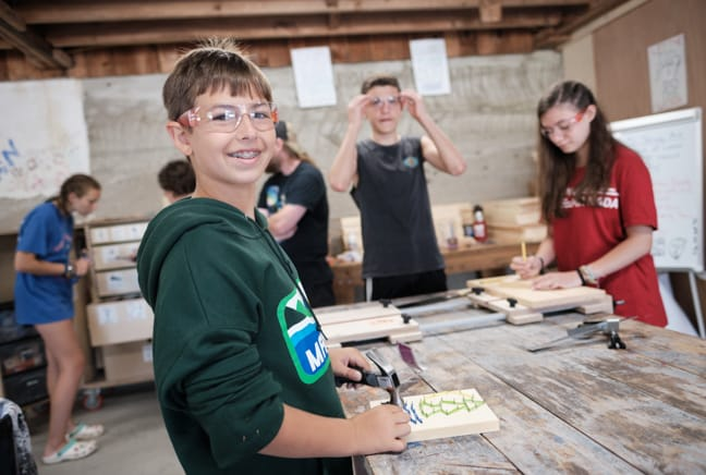 campers in woodshop